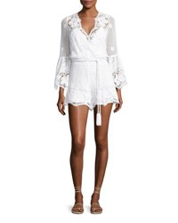 Miguelina Genie Belted Lace Romper Pure White