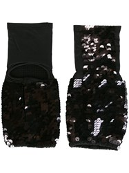 Mes Demoiselles Sequin Embellished Gloves Black