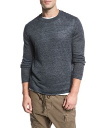 Vince Raw Edge Linen Crewneck Sweater Gray