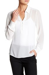 David Lerner Henley Hi Lo Blouse White