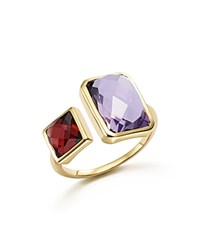 Bloomingdale's Amethyst And Garnet Square Side By Side Ring In 14K Yellow Gold Purple Gold