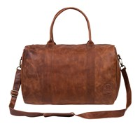 Mahi Leather Cortes Deep Compact Holdall Weekend Overnight Bag In Vintage Brown