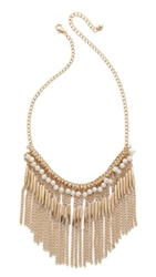 Jules Smith Designs Imitation Pearl And Chain Fringe Necklace Gold Pearl