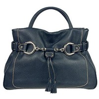 Buti Navy Blue Pebble Italian Leather Satchel Handbag