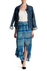 Angie Button Up Printed Maxi Skirt Blue