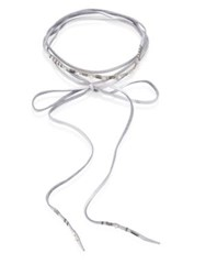 Chan Luu White Mother Of Pearl And Leather Wrap Necklace