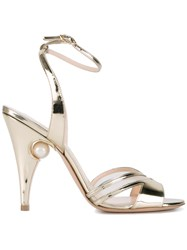 Nicholas Kirkwood Pearl Embellished Metallic Grey Sandals
