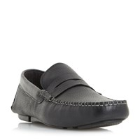 Linea Bayswater Penny Saddle Driver Loafers Black
