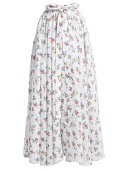 Emilia Wickstead Evelyn Floral Print Linen Maxi Skirt White Print