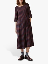 Toast Franca Houndstooth Midi Wool Dress Red Navy