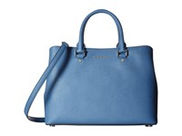 Michael Michael Kors Savannah Lg Satchel Denim Satchel Handbags Blue