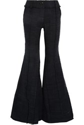 Ronald Van Der Kemp Leather Trimmed Frayed Cotton Flared Pants Midnight Blue