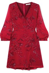 Madewell Wrap Effect Floral Print Crepe De Chine Mini Dress Red