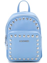 Love Moschino Studded Logo Backpack Women Polyurethane One Size Blue