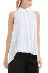 Vince Camuto Women's Eyelet Cotton High Low Blouse