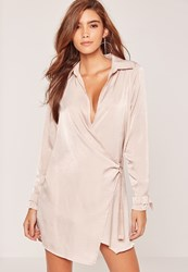 Missguided Nude Hammered Satin Wrap Over D Ring Dress
