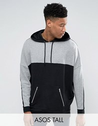 Asos Tall Extreme Oversized Longline Hoodie With Cut And Sew Panels Black