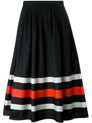 Salvatore Ferragamo Striped A Line Skirt Black