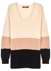 Max Mara Tri Tone Wool And Cashmere Blend Jumper Cream