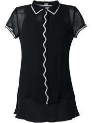 Jupe By Jackie Embroidered Trim Sheer Shirt Black