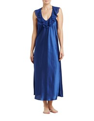 Oscar De La Renta Ruffled Long Nightgown Blue
