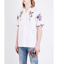 Gucci Flower Embroidered Regular Fit Cotton Shirt White