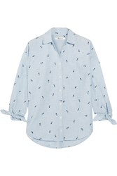 Madewell Embroidered Cotton Chambray Shirt Navy