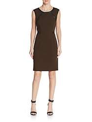 Lafayette 148 New York Leather Detailed Sheath Dress Espresso