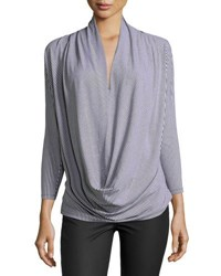 Neiman Marcus Draped Cowl Neck Striped Tee Blue Pattern