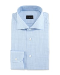 Ermenegildo Zegna Linen Effect Dress Shirt Blue