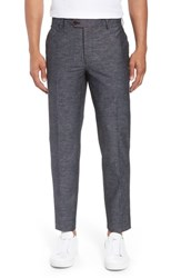 Bonobos Flat Front Solid Stretch Cotton And Linen Pants Grey Black