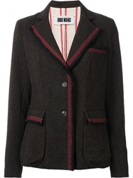 Uma Wang Striped Detailing Blazer Brown