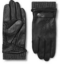 Dents Dent Henley Leather And Wool Blend Tech Glove Black