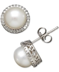 Honora Style Cultured Freshwater Pearl 7 1 2 Mm And Swarovski Zirconia Stud Earrings In Sterling Silver White