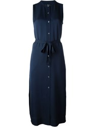 Theory 'Centha' Button Down Tie Waist Shirt Dress Blue