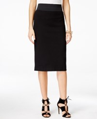 Inc International Concepts Pull On Textured Pencil Skirt Only At Macy's Deep Black