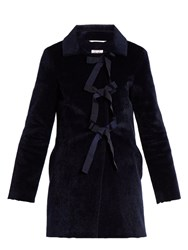 Shrimps Helena Faux Fur Coat Navy