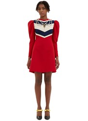 Gucci Chevron Striped Jewel Embellished Dress Red
