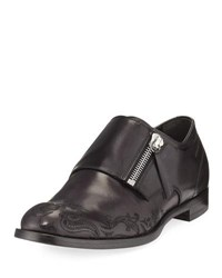 Alexander Mcqueen Skull Etched Leather Loafer With Zipper Monk Strap Black