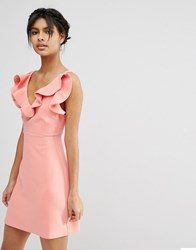 Asos Structured Frill A Line Mini Dress Coral