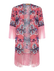 Lipsy Floral Print Fringed Coverup Pink