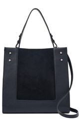 Botkier Park Slope Leather And Suede Satchel Blue Navy