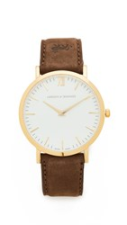 Larsson And Jennings Lugano Leather Strap Watch Gold White Brown