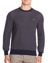 Lacoste Long Sleeve Patterned Sweater Navy