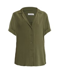 Equipment Colette Short Sleeved Silk Shirt Khaki