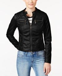 Joujou Jou Jou Juniors' Zip Front Faux Leather Moto Jacket Black