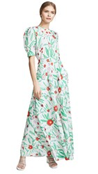 Vika Gazinskaya Flower Print Fitted Dress Ecru Green Red