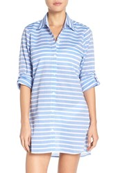 Tommy Bahama Women's Brenton Stripe Boyfriend Shirt Cover Up