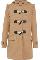 Joie Karinka Ruffle Trimmed Wool Blend Hooded Coat Camel
