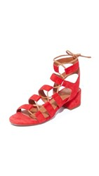 Frye Chrissy Side Ghillie City Sandals Red